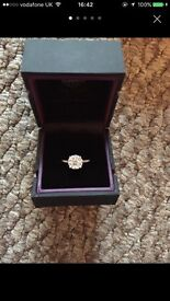 9ct White gold 10 diamond cluster engagement ring