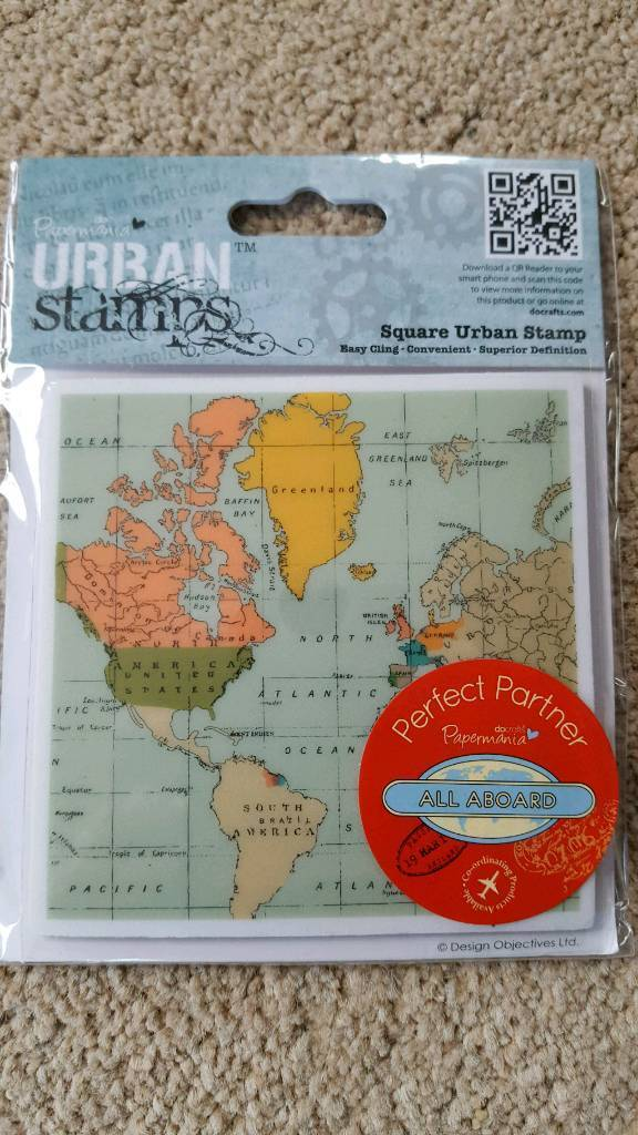URBAN STAMPS MAP RUBBER STAMP - BRAND NEW IN PACKAGING