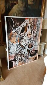 huge vintage oil on board abstract painting by listed artist.