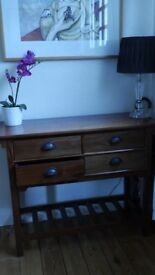 Solid wood Mahogany console for hallways with 4 drawers - EPSOM pick up only