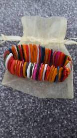 Multicoloured Shell Bracelet and Organza Bag