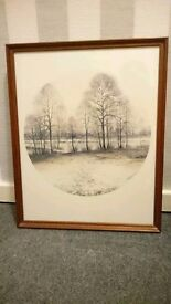 Winter Trees framed sepia print by M Svastec from 1980