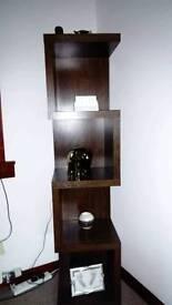 Dark wood shelves