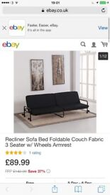 Recliner Sofa Bed Foldable Couch Fabric 3 Seater w/ Wheels Armrest
