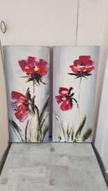 Pair of canvases with hand painted flowers