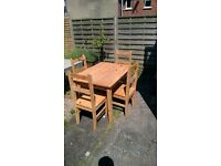 Solid Mexican Pine Dining Table and Chairs