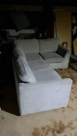 Stone grey dfs grey fabric corner sofa. Can deliver