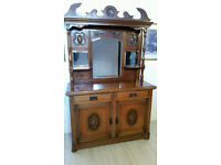 Large Antique Victorian Carved Walnut Mirrored Back Sideboard Cabinet