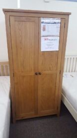 Ex Display Julian Bowen Marlborough Oak 2 Door Wardrobe **CAN DELIVER**