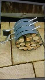 Fire irons & log holder