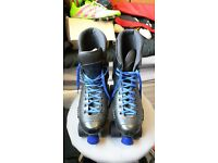 black with blue laces size 6 roller skates