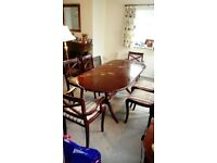 Extendable dining table some marks on the top comes with 6 chairs mahogony