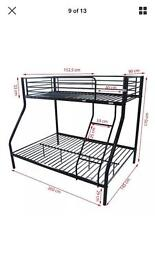 Double plus single metal bunk bed in silver white