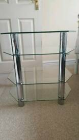 Glass Hi-Fi stand with chrome legs. Never used