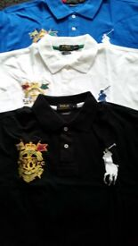 "NEW RALPH LAUREN "" BIG PONY"" POLO SHIRTS IN WHITE, ROYAL BLUE OR BLACK"