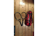 Wilson tennis bag and two rackets