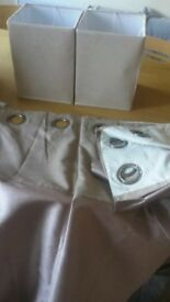 pair of dunelm cream suede lamp shades and pair of courtains
