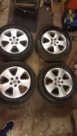 SET OF VAUXHALL ALLOYS + 4x PIRELLI 215 55 16 TYRES ALL OVER 7MM TREAD + 7MM SPARE WHEEL