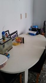 White oval dining table