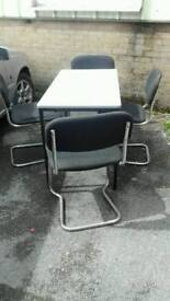 Heavy duty table and 4 stacking chairs