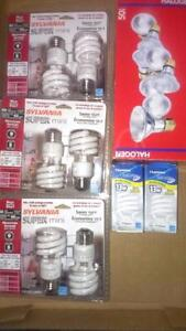 16 light bulbs 8 sylvania bulbs cfl  and 8 halogene 50 watts see pictures TAKE ALL FOR $10  Item is located near keel an