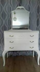 Stunning vintage dressing table / drawers, finished in Annie Sloan original white paint.