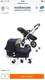 Buggaboo cam3 navy with tan leather handles