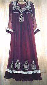 Asian maroon dress