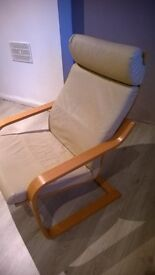 beige natural leather ikea poang chair very good condition