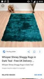 2 x teal shaggy rugs