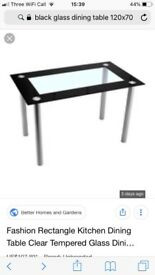 Black/ clear Glass dining table brand new in box 120x70cm