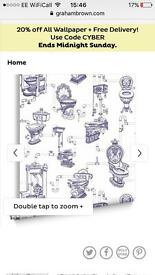 X2 rolls graham & brown 'loo loo' wallpaper