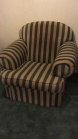 Used sofa armchair. Beige and green striped. Needs cleaning. Free to a good home.