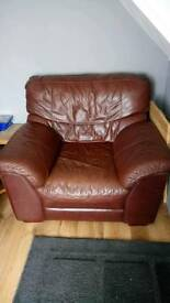 Brown Leather 3 seater sofa and Arm chair