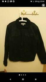 Black Calvin Klein denim jacket with Borg collar