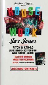 JAX JONES Tickets x2! CHEAPEST OUT THERE - ONLY 16! OBO! - Electric Brixton 01.12.17 - TONIGHT