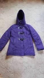Ladies Purple Hooded Raincoat Size 12