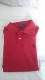 Boys red ralph Lauren polo shirt
