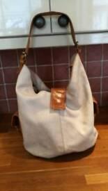 Bergamo cream leather handbag