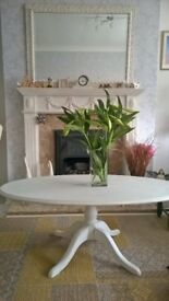 Shabby chic light grey and white oval coffee table in exc cond refurbished