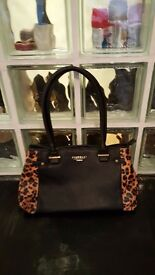 FIORELLI bag leather with animal print, medium size, like new.