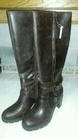 LANA UGG BOOTS. Brown leather knee length. Size UK 7