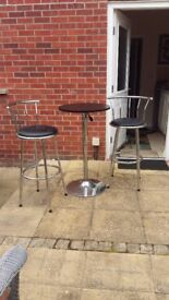 Bistro Style Tall Kitchen/patio Table & Two Chairs