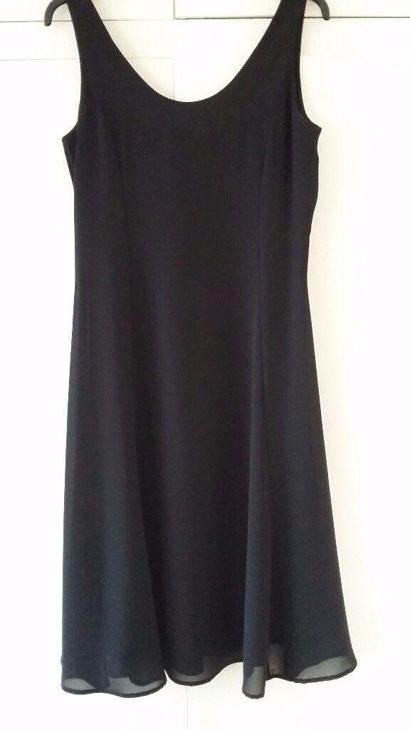 ladies black chiffon dress size 14
