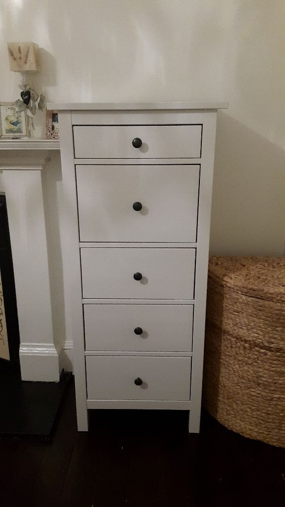 Ikea Hemnes Chest Of Drawers White Tall 5 Drawer In