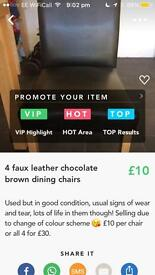 4 faux leather chocolate brown dining chairs
