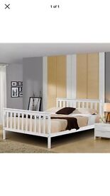 White wooden double bed - BRAND NEW IN BOX