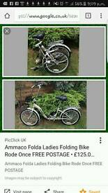 Ladies folding bike WILL TAKE SENSIBLE OFFERS