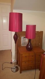 Large Next red crackle glaze table lamp and matching floor lamp