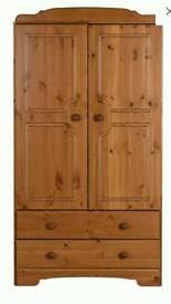Nordic 2 door 2 draw pine wardrobe